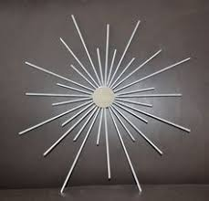 24 Inch Starburst Sunburst Metal Mirror Atomic Wall Art In Silver Black Various Colors Steel Artwork Retro Vintage Inspired