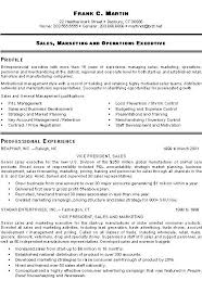 Marketing Executive Resume Sample Business Development Manager Template Sales And Cv