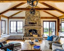 A Rustic Living Room Embraces Water Views