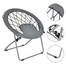 costway folding round bungee chair steel frame outdoor cing