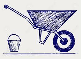 Garden wheelbarrow Doodle style Stock Vector