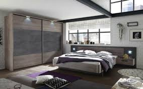 schlafzimmer komplett set bett 180 kleiderschrank 270 eiche beton braun grau led