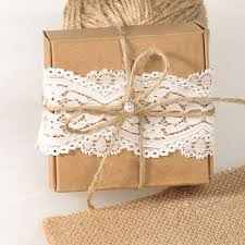 Rustic Wedding Favor Lace Paper Kraft Boxes EWFB071 As Low 093
