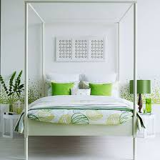 Bedroom With White Walls Floor Vivid Lime Cushions And Lampshade