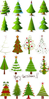 Kinds Of Christmas Tree Ornaments by 2 Sets Of 20 Vector Cartoon Christmas Tree Designs In Different