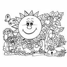 Smiley Sun In Spring Rabbit Having Fun With Flowers Coloring Pages