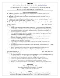 Examples Of Retail Resumes Fair Resume For Stores About Store Manager Sample