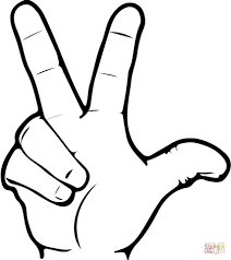 ASL Number Seven Coloring Page