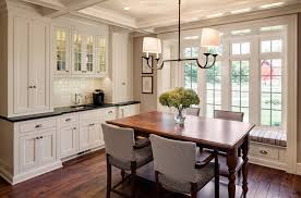 Farmhouse Dining Room With Beverage Station Kitchen