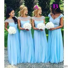 2017 light sky blue long bridesmaid dresses scoop beads pearls