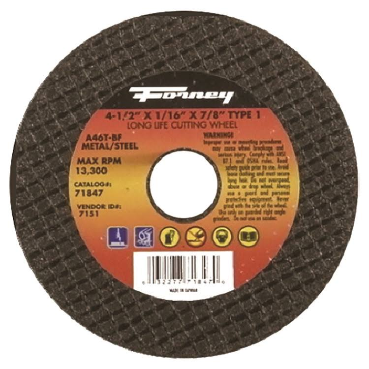 "Forney 71847 Metal Type 1 Cut Off Wheel - 4 1/2""x 1/16""x 7/8'"