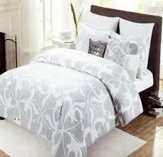 Echo Jaipur Bedding by Tahari Home 3pc Luxury Cotton Full Queen Duvet Cover Set Gray