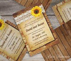 Rustic Sunflower Wedding Set With Wood And Lace DIY Printable Country Invitation Sunny