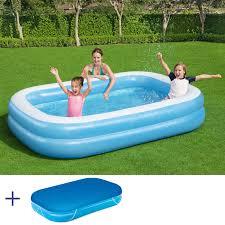 bestway jumbo pool swimmingpool planschbecken kinderpool 262x175x51cm mit cover