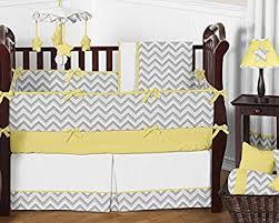amazon com sweet jojo designs 9 piece gray and yellow chevron