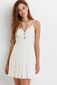 forever 21 crochet cami dress in white lyst