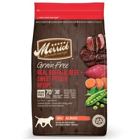 Merrick Grain Free Real Buffalo and Sweet Potato Dry Dog Food - 12lb