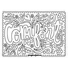 Comfort Downloadable Coloring Page