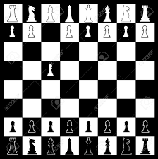 Layout Of A Chess Board In Black And White With Whites First Move Stock Vector