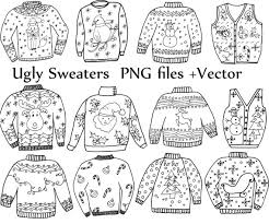 """Ugly Sweater ClipArt """"CHRISTMAS CLIPART"""" Holiday Clipart Doodle clipart ugly sweater clip art vector files Christmas Jumper Doodle Clip Art"""