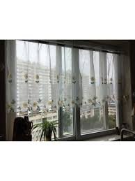 White Eyelet Kitchen Curtains by Winston Daisy Embroidered Grommet Cafe Sheer Curtains For Kitchen