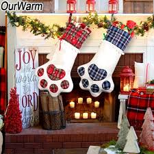 OurWarm Plaid Christmas Gift Bags Pet Dog Cat Paw Stocking Socks Xmas Tree Ornaments Stockings