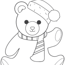 Christmas Teddy Bear Coloring Page Free Printable Pages