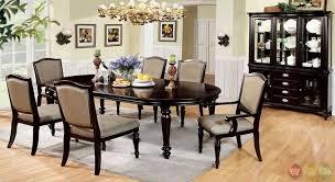 2111 8 Piece Harrington Elegant Dark Walnut Formal Dining Set With Matching Buffet Hutch CM3970