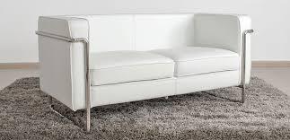 le bauhaus canapé 2 places blanc cuir première qualité