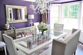 Dining Room Buffet Decor For Small Spaces With White Crystal Chandelier And Purple Wall Paint Colors Schemes Using Square Mirror