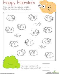 Kindergarten Math Worksheets Coloring 6 Happy Hamsters