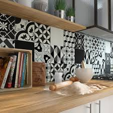 credence cuisine noir et blanc carreau de ciment époque décor emy gris noir et blanc l 20 0