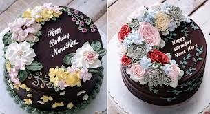 Most Beautiful Chocolate Birthday Cakes With Name And Flowers