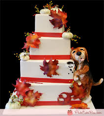 Fall Themed Wedding Cake With Doggy