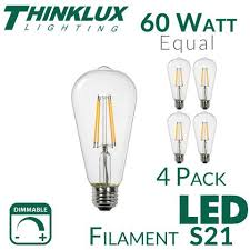 vintage led edison filament light bulb 60w s21 st21 earthled