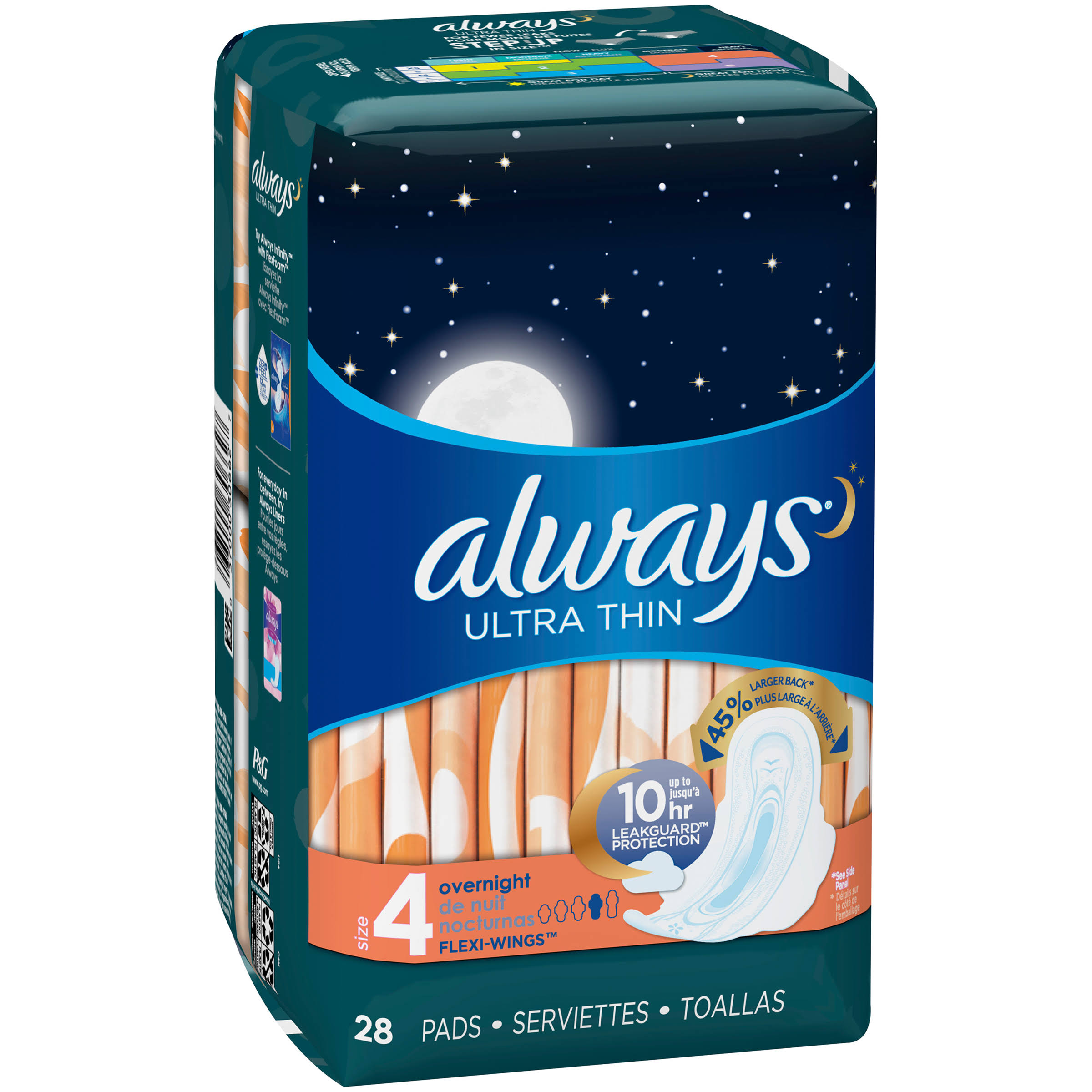 Always Ultra Thin Overnight Pads - 28 ct