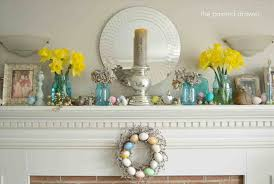Fireplace Simple Lit Spring Home Decor Mantle Up And Toned Down Mantel Interior Design