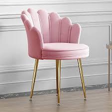 ziniukeji samt esszimmerstühle blütenblatt rückenlehne metallhalterung lounge stühle dressing hocker für wohnzimmer schlafzimmer küche pink