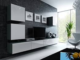 furniture24 wohnwand anbauwand vigo in mdf hochglanz pusch click farbauswahl grau weiß hochglanz