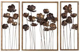 Metal Decorative Wall Art Flowers Sculptures Burn Gold Rustic Large Wonderful
