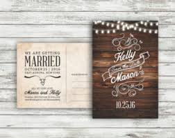 Rustic Wedding Save The Date Postcard Vintage