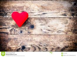 Wood Background With Red Heart And Nothing Else
