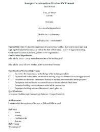Resume Samples For Construction Jobs Together With Example Professional Laborer Worker Template Org