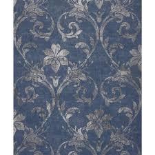 barocktapete wohnzimmer blau silber vlies barock modern barock modern barock ornament dives blau