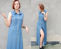 90s Vintage Maxi Button Down Denim Dress Blue Jean Grunge