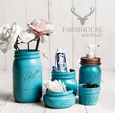 Teal Color Bathroom Decor by 3 Turquoise Blue Mason Jar Set Available In Pint Quart And Half