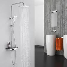 duschsystem thermostat 40 mit ablage 2 strahlarten chrom handbrause edelstahl duschset mit regalthermostat inkl handbrause kopfbrause