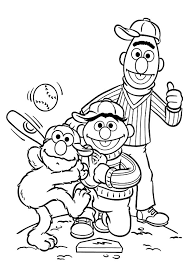 Baseball Coloring Pages Elmo And Friends