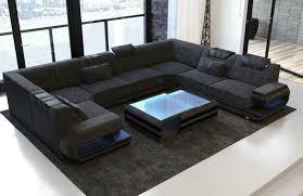 stoff wohnlandschaft sofa ragusa u form mit led beleuchtung