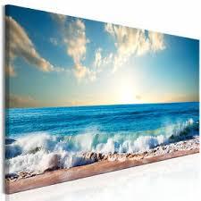 details zu leinwand bilder meer strand himmel wandbilder wohnzimmer nachleuchtend